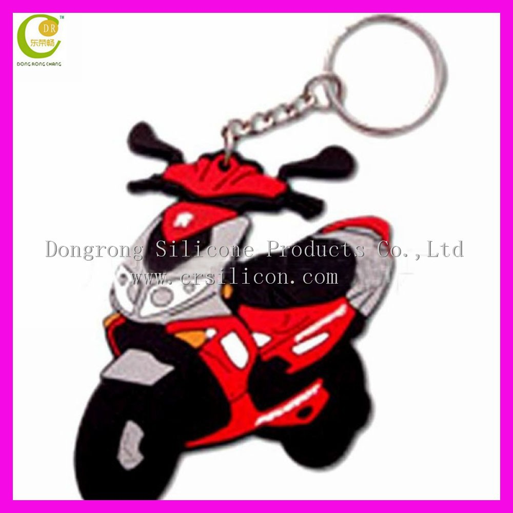100% Manufacturer for cheap promotion soft 3D rubber motorcycle keychain, soft pvc tag keyring, silicone wristband keychain