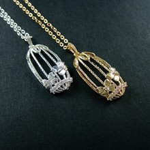16x32mm 14K light gold/silver rhinestone flower bird cage filigree pendant charm fashion choker necklace 6360049
