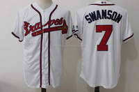 Men's Atlanta Braves Dansby Swanson Majestic Home White Official Cool Base Replica Player Jersey