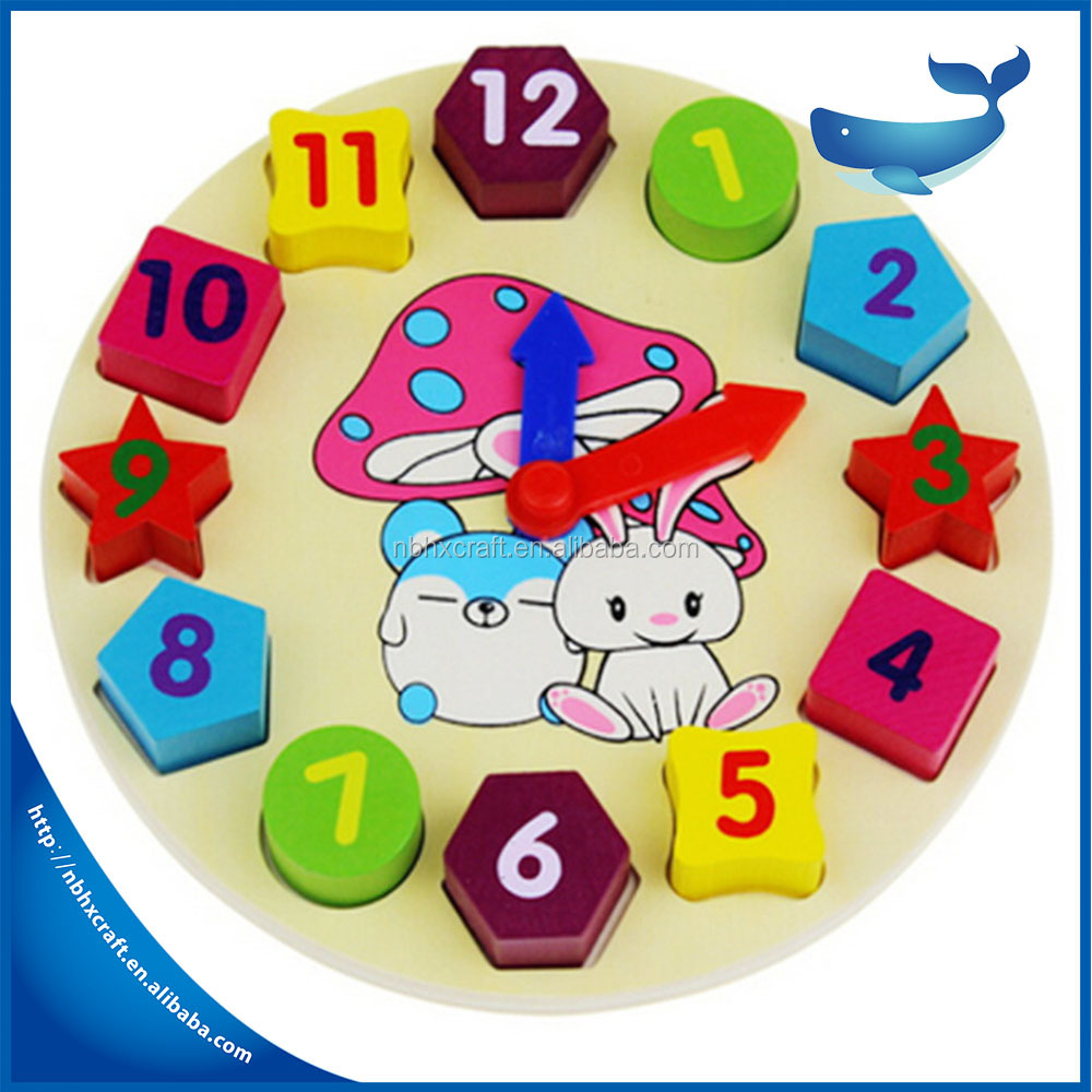 New Arrival Kids Toys Wooden Cartoon Rabbit Clock Montessori Educational Geometric Assembling Blocks Top Quality