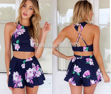 walson 2016 women fashion clothing apparel dress 2-piece floral printed bandage bodycon dress