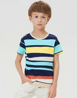 children clothing 2016 kids wear new model boys colorful stripes t-shirt wholesale