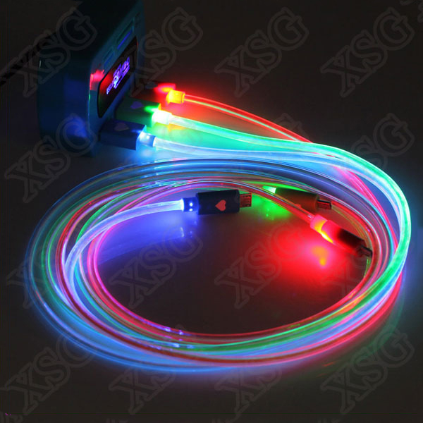 Hot sale EL light Wire Cable Colorful 3ft/ 1m PVC LED Light 2A Micro USB data Cable for Android for iphone 7