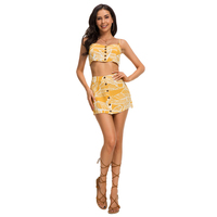 Top Latest Sexy Yellow Floral Straps Two Piece Mini Backless Ladies Outfits For Beach