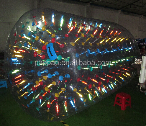 Customized LED bubble inflatable water rolling tube,inflatable water roller ball for water park