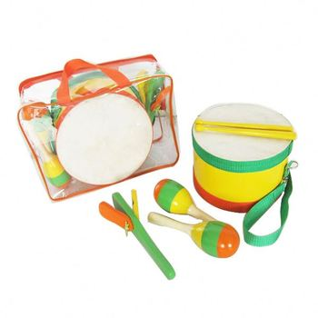 Modern fashion baby toys set Percussion set marching drum with wood mallets yellow and orange children drums