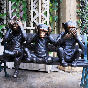 Outdoor Park Bronze Three Wise Monkey Sculptures on Bench for Sale