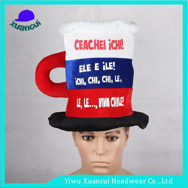 Wholesale promotional cheap carnival party foam hats 2014 world cup Chile fans football hat
