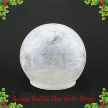 Christmas glass ball painted moon with led light ornament