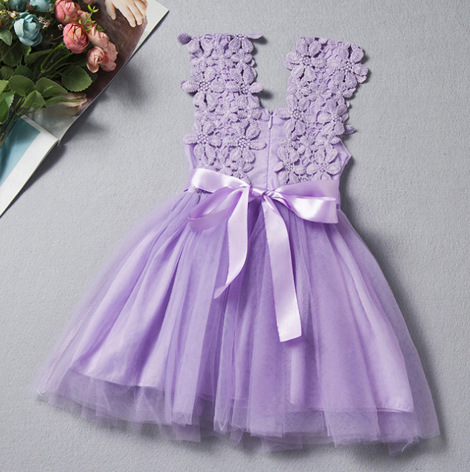 Baby girls 1 year old lace tulle sleeveless party dress