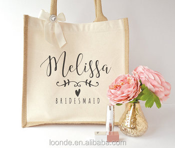 Personalized bridesmaid jute bag wedding gift bag