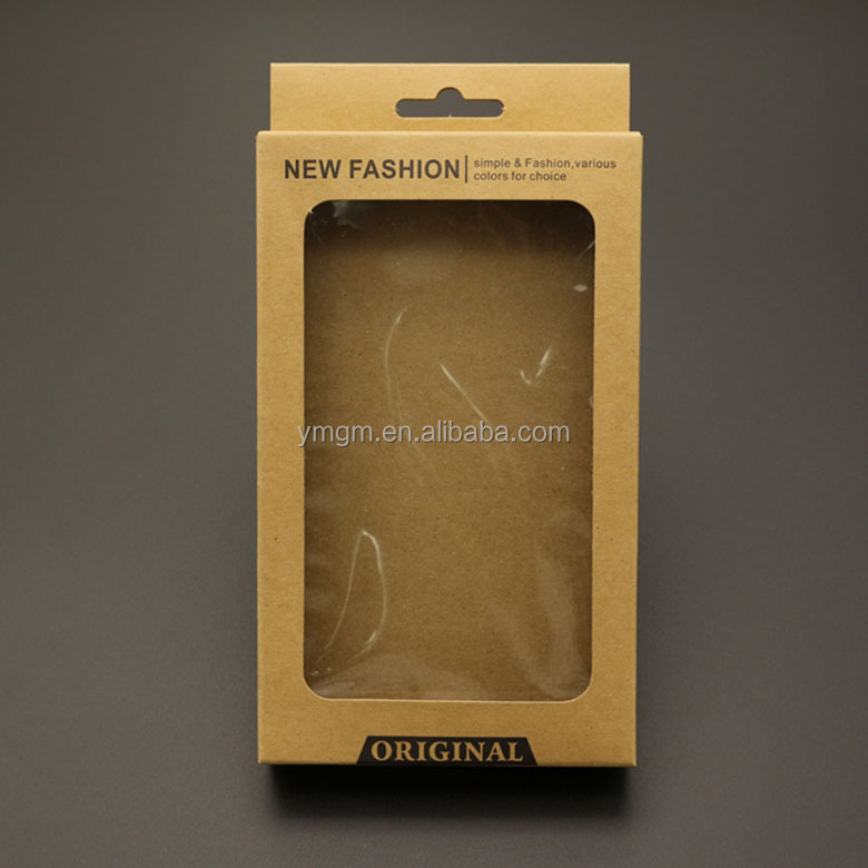 Custom Printed Paper Phone Case With Clear Pvc Window Kraft Paper Box ...