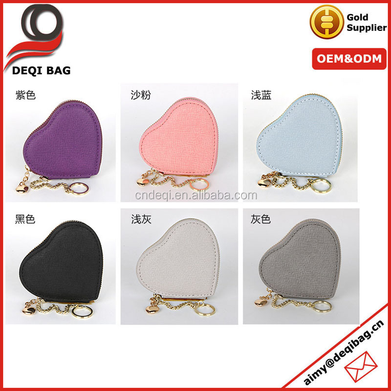 rose red sweet heart shape cross pattern pu coin purse /wallet bag multifunctional promotional storege bag with key chain