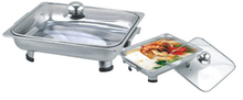 LY 410034A Stainless Steel Hot Pot Theomo Food Container With Glass Lid