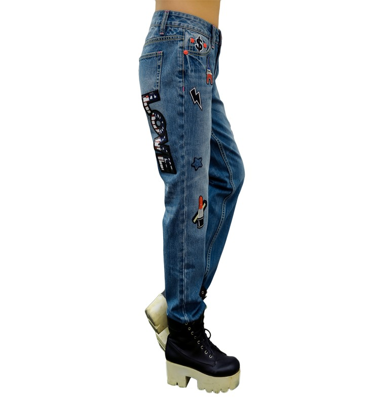 17 latest fashion stretch grey boyfriend denim jeans with printed and embroidery patch