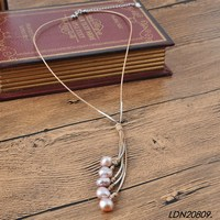 Genuine Pearl Necklace Freshwater Pearl Leather Cord Necklace