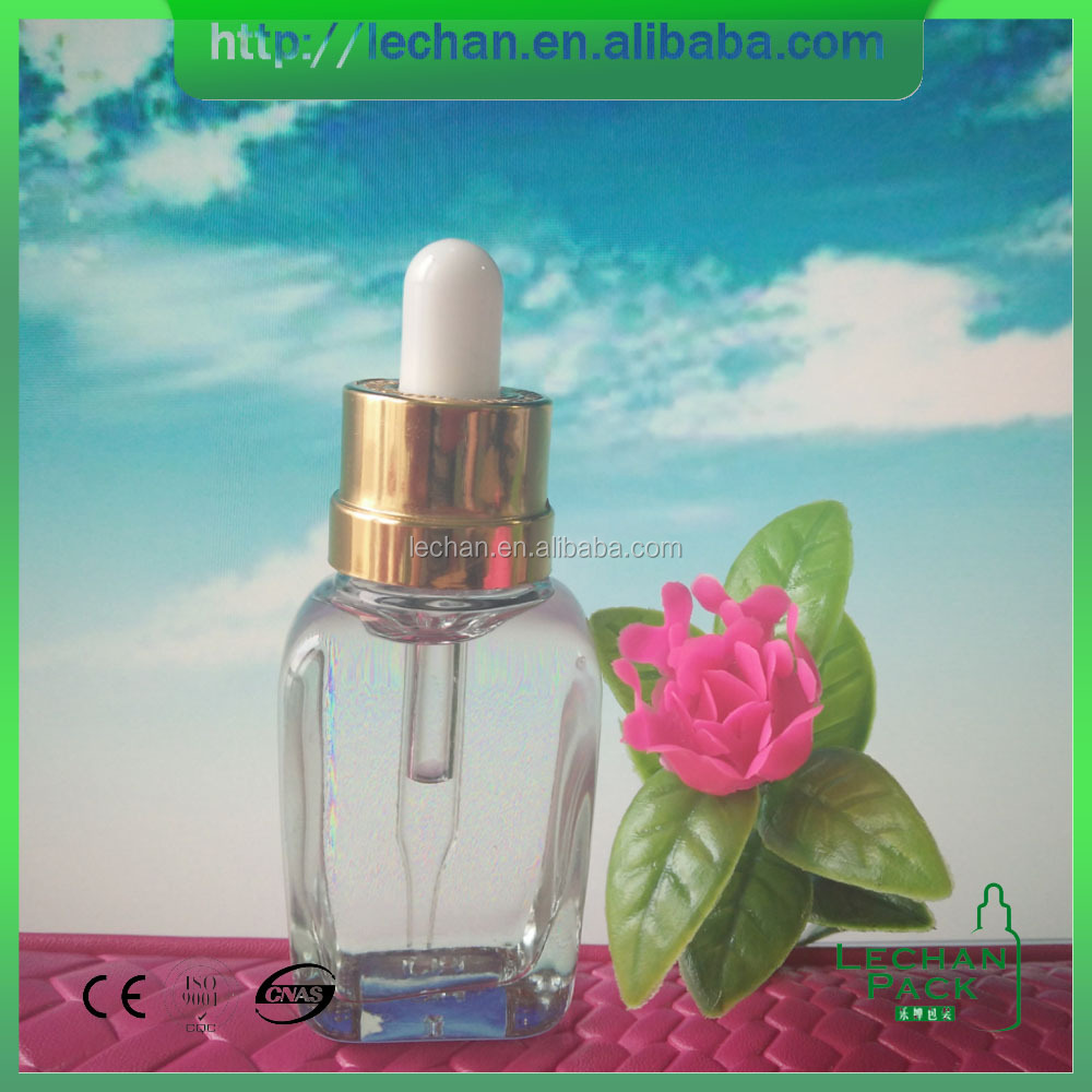 30ml square glass dropper bottle to be filled in perfume essence, customized joyshaker bottle