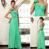 High quality new arrival elegant chiffon one shoulder evening dress