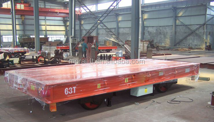 Electric rail flatbed vehicle for metal industry