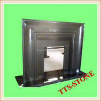 Black granite fireplace hearth