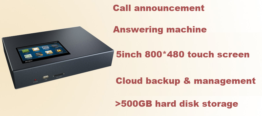 Touch screen stand-alone telephone recorder with 500GB harddisk, cloud backup & management