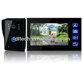 Touch key 7'' inch high clear LCD screen wireless video door phone 2 wire video door phone system