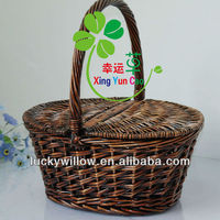elegrant oval brown wicker storage basket with 2 lids& high handle