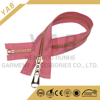 #5 polished light gold aluminum metal zipper garment
