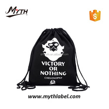 Black Recycle Wholesale white print Non Woven Cheap Personalized Drawstring Shoe Dust Bag