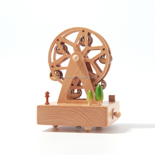 Beech wooden hand cranked mechanism windmill vintage gift music box