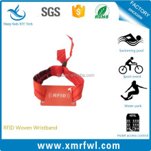 China factory rfid woven fabric programmable wristband for festival events