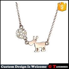 New Design Popular Silver And Rose Gold Fancy Snow Deer Pendant Silver Tiny Initial Pendant Necklace For Women