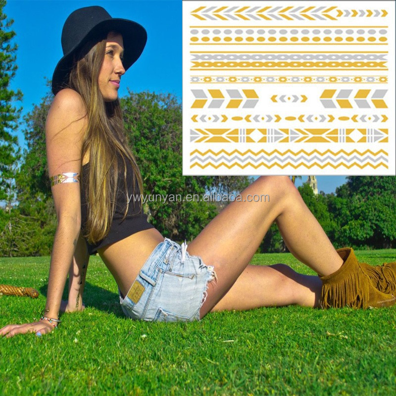 high quantity custom design tattoos gold silver temporary metallic flash tattoo