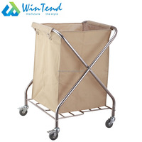 Square shape folding X frame type hospital and hotel room cleaning service laundry linen trolley cart price