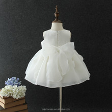 2018 big bowknot frock design for baby girl cotton flowers baby girl wedding dress
