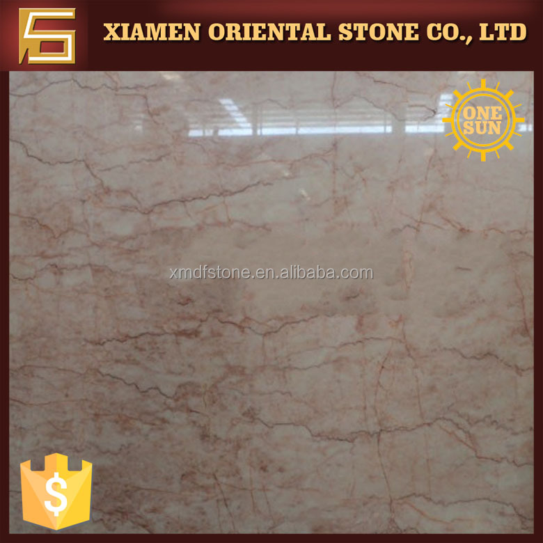 cream rose pink marble stone with red veins for dinning table