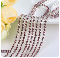 Purple Silver Plating Wholesales AAA Quality Shinny Close Crystal Cup Claw Rhinestone Chain for Jewelry Cheapest