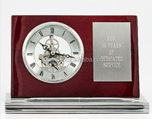 Skeleton red wooden table clock with pen stand