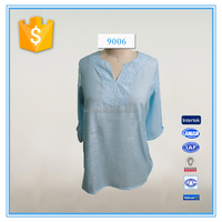 Women embroidery transparent casual blouse