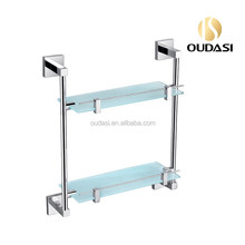 Brass Bathroom Accessories Double Glass Corner Shelf