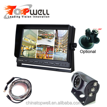 4CH HD Waterproof Quad Monitor With Wide Angle Night Vision Rear View Camera