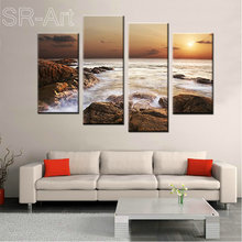 Rocky Shoreline 4 Panels Seascape Artwork Stretched and Framed Giclee Canvas Prints Landscape Sea Beach Pictures