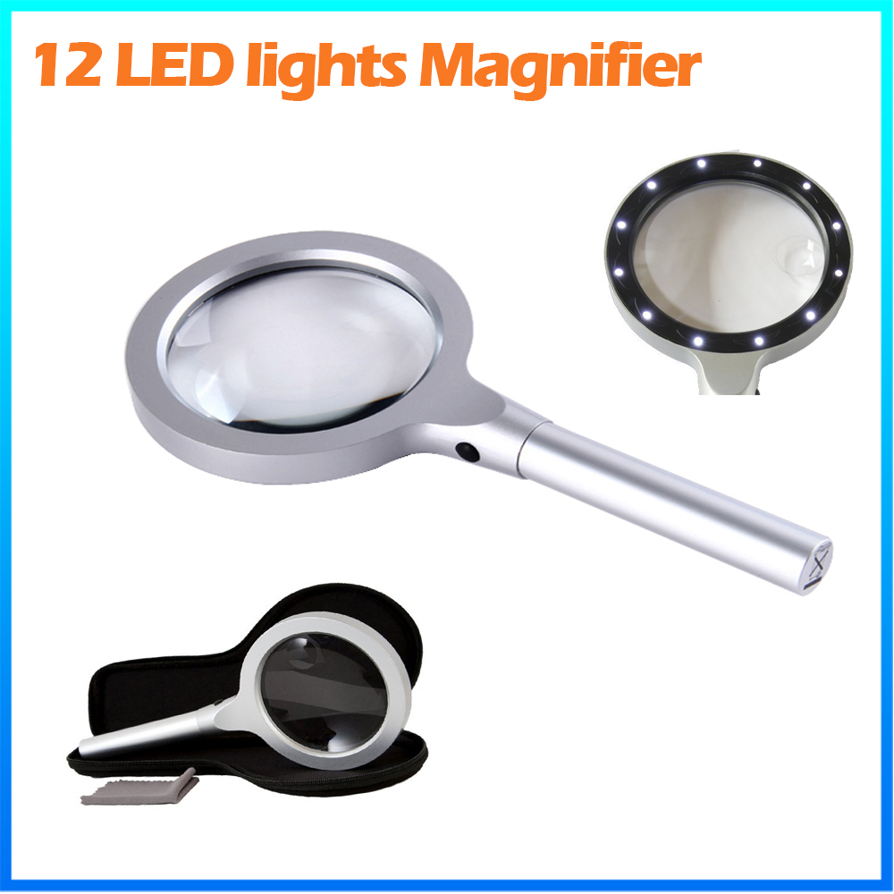 DH-81001 Wholesale Gift Metal Straight <strong>Handle</strong> Type Magnifier Loupe , 10X Reading Magnifying Glass With Led Light