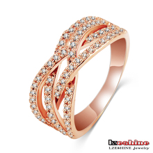 18K Rose Gold Plated Austrian Crystal Turkish Puzzle Ring Fashion CRI0196-A