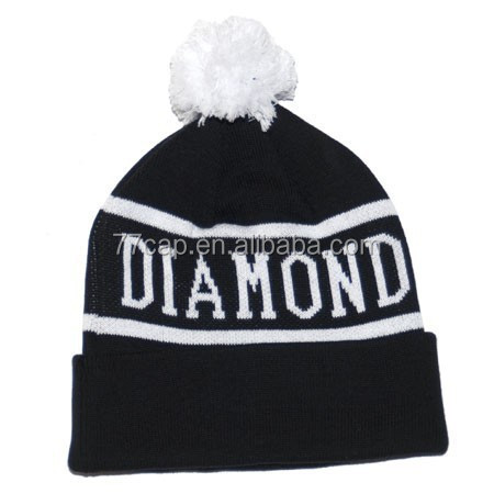 Custom Knitted Pom-pom Ball Beanies Winter Ski Hat Cap