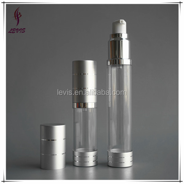 Silver and clear cosmetic luxury 30ml airless purm bottle