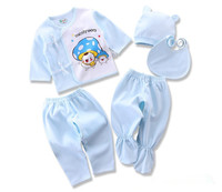 Hot sale 100% cotton newborn baby 5pcs baby Gowns long sleeve baby clothes