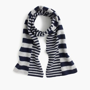 GIRLS 100% WOOL KNITTED SCARF WITH UN-SYMMETRIC STRIPE
