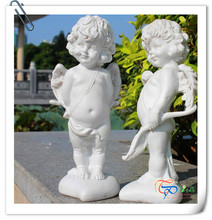 Popular white fiberglass resin cute angel statue table decoration