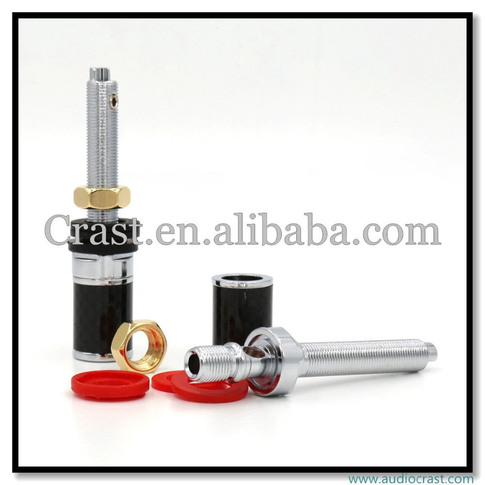 Hi-End OEM High Quality Carbon Fiber Rhodium Plated Binding Post for Amplifier Speaker